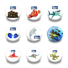 9PCS Anime Finding Nemo Fishes Badges Cartoon Badges Round Buttons Badges Kids Gifts 30MM Diameter Clothes/Bag Accessories