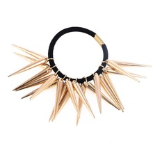 Punk hair bands Gold Silver Color Woman Elastic spike rivet Hair Band Rope Ties Metal Ponytail Holder Girls Hair Accessories
