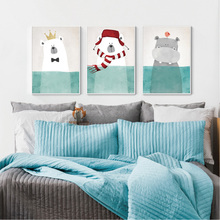Bear Cartoon Animals Canvas Art Print Painting Poster Wall Picture for Home Decoration Wall Decor for Kids Nursery Baby Room