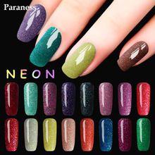 Paraness 8ml Long Lasting Gel Colorful Glitter Neon Polish Nail Art Shimmer Gel Varnish Manicure Soak Off UV Gel Nail Polish(China)
