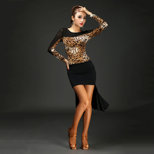 Sexy net yarn Latin dance shirt Slim adult dance clothing Square dancing female long - sleeved modern practice performance servi