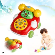 Cute Baby Toys Music Cartoon Phone Educational Developmental Kids Toy Gift Children Pull Rope Phone Music Cartoon Phone(China)