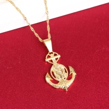 Cross Jesus Anchor Pendant Necklace Women Men Gold Color Crucifix Jewelry Christian Wholesale Gold Jewellry