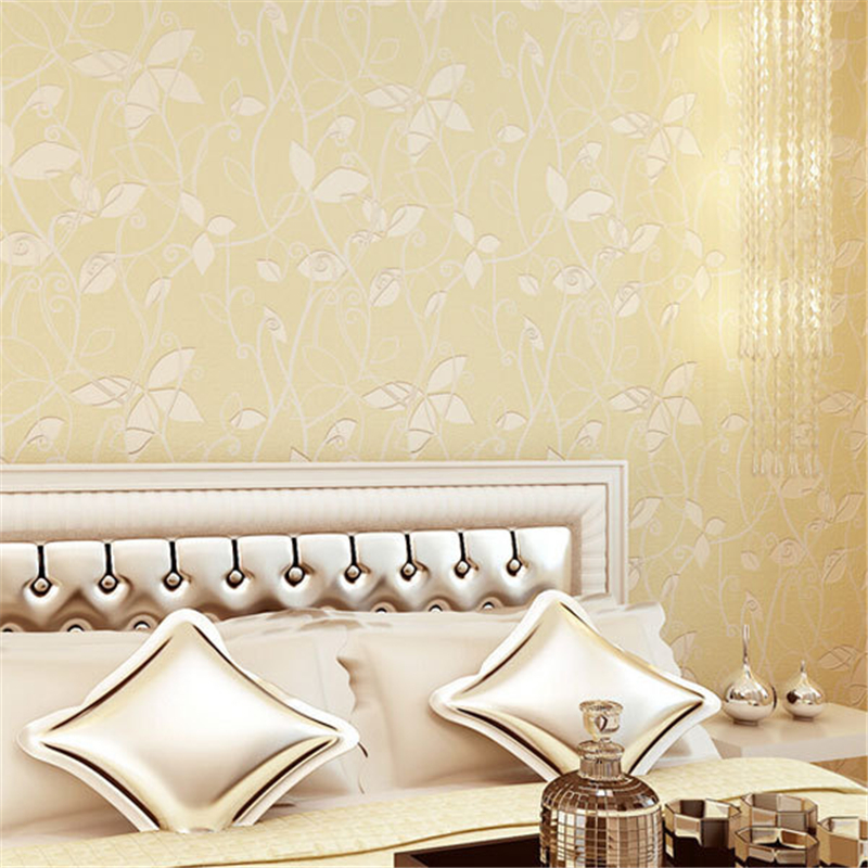 beibehang mural Romantic Pastoral Fresh Style Leaf Non-woven 3D Wallpaper roll Floral Mural Papel de Parede TV Bedroom Wall<br>