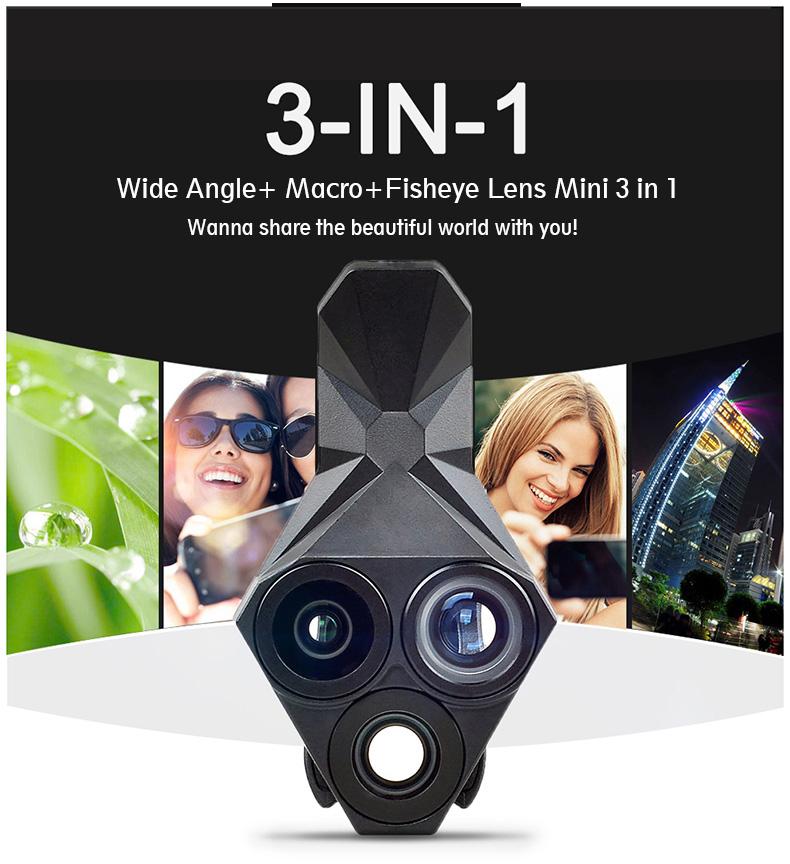 Ulanzi 3 in 1 Phone Camera Lens Kit Wide Angle Macro Fisheye Lens for iPhone Samsung HUAWEI VIVO Xiaomi Smart Mobile phones 3