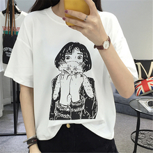 2017 Summer New Short-sleeved White T shirt Women Harajuku Character Printed Loose Top Female T-shirt Casual S-XL Funny Tee
