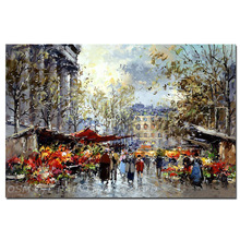 Experienced Artist Hand-painted Impression Knife Painting on Canvas Handmade Textured Impression Market Oil Painting