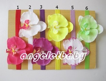 36 pcs  handmade Headwear Hair Accessories phalaenopsis fabric Flower with stretchy hair band SG8603
