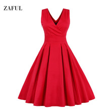 Zaful M-6XL Red Plus Size Vintage Dress Women Summer Autumn Sexy V-neck Sleeveless Elegant Rockabilly Slim Tunic Dress Vestidos