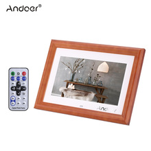 "Andoer 10"" Desktop Wood HD LCD Electronic Digital Photo Frame Clock Calendar MP3 MP4 Movie Playerwith Remote Control"