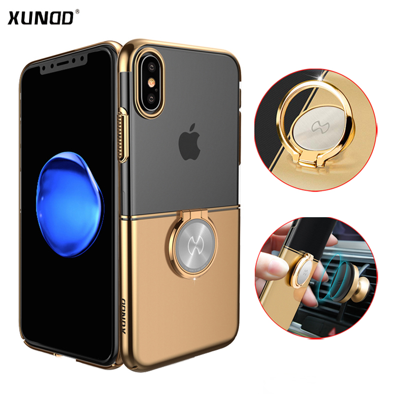 Luxury Clear Ring Holder Case For iphone X 10 Xundd Hard PC back Cover For iphone X case capa work with Magnetic car holder 19