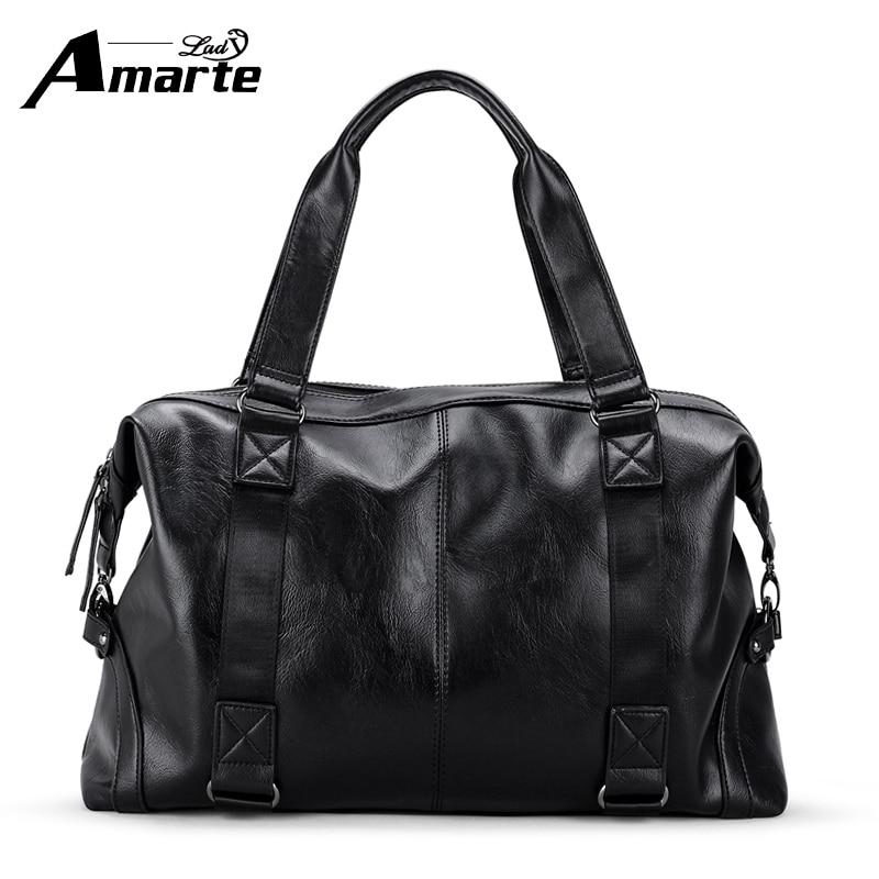 Amarte Men Handbags 2017 New Fashion Solid Leather Boston Shoulder Bags Big Capacity Men Top Handle Handbags Male Travel Bags<br>