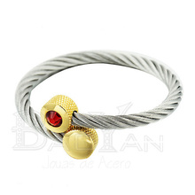 Silver stainless steel red crystal wire adjustable bangles bracelets