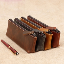 Fashion Business Style Genuine Leather Pen Bag Pen Case High Quality Stationery 6 Colors
