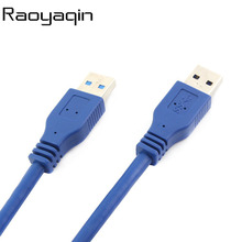 High Speed Blue Black USB 3.0 Cable A type Male to Male USB Extension Cable AM TO AM 50cm 1m 180cm 4.8Gbps Support USB2.0