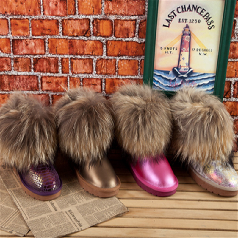 Real Fox fur snow boots ankle winter women cowhide genuine leather  cow muscle flat heel big fur snow shoes female winter boots<br><br>Aliexpress