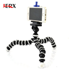 JERX Small Octopus Flexible Digital Camera Stand Monopod Mini Tripod with Holder for iPhone 5 6 7 and Cell Phone Holder