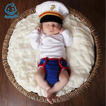 Popular Fashion Baby Photography Clothing, 0-6 Months Infants and baby, Handmade Wool Weave Marines Modeling Apparel(China)
