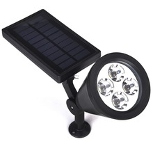 4 LEDs Solar Lamp ABS Plastic Spotlight Adjustable Waterproof Outdoor Garden Landscape Yard Decoration Wall Night Light - Gledto led store
