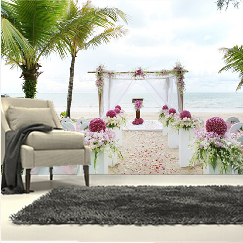 The custom 3D murals,3d romantic tropics Sea Palma Wedding wallpapers,living room sofa TV wall bedroom wall paper<br>