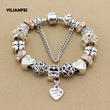 YILIANFEI Silver Plated Female Pandora Bracelet with Flower Pendant Charms Bracelets for girls Best Gift BT0011(China)