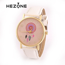 HEZONG Fashion Wristwatches Women Clean Fresh Style Wind Chimes Pattern Watch Ladies Girls' thick Leather Strap Quartz Watches