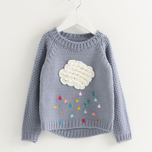 Girls Sweater Knitted Baby Clothing 2017 Winter Children Sweater for Girls Pullover Cartoon Cloud Outerwear Kids Knitwear 2-8Y(China)