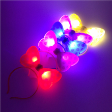 5pcs/lot Wave point butterfly LED Light Luminous Flashing Bunny Headdress Head Hair Band Hoop Toy Kid Birthday Party Supply