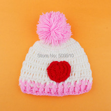 2015 NEW Crochet Pattern Baby Hat Heart Design Infant Winter Beanies Cap Knitted Newborn Photography Prop Retail H196