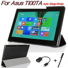 Luxury Black Stand PU Leather Case for Asus Transformer Book T100 T100TA 10.1 inch Tablet Folding Folio Cover+OTG+Stylus Pen