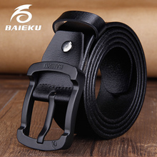 Buy BAIEKU Fashion pin buckle men's leather belt Black buckle simple men's belt 2018 new for $12.39 in AliExpress store