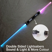 2 Pieces Sound Star Wars Lightsaber Cosplay Props Kids Double Light Saber Toy Sword for Boys Christmas Gifts(China)