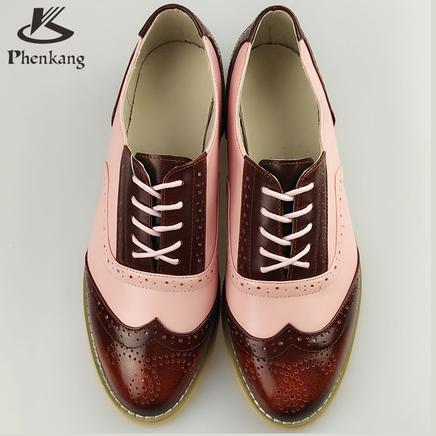 Genuine leather big woman US size 11 designer vintage flat shoes round toe handmade brown pink 2017 oxford shoes for women fur<br><br>Aliexpress