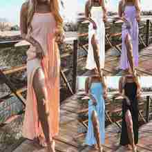 Buy Laamei 2018 Evening Party Long Maxi Beach Dress Solid V-neck Sexy Split Boho Long Dresses Backless Halter Beach Bohemia Dresses