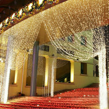 Hot Sale Curtain String Lights Garden Lamps New Year Christmas Icicle LED Lights Xmas Wedding Party Decorations 1000LEDs 10M*3M(China)