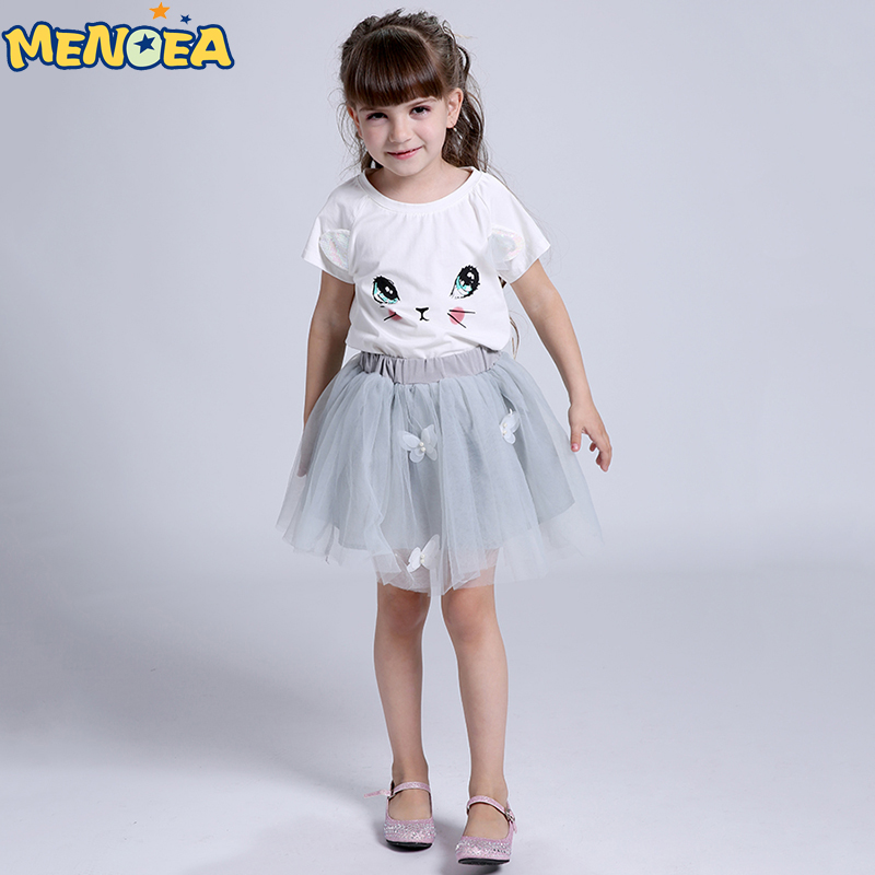 Menoea 2017 Brand New Girl Clothing Set  Princess Dress Lolita Style Girls Clothes T-shirt+Floral Braces Dress for Kids Clothes<br><br>Aliexpress