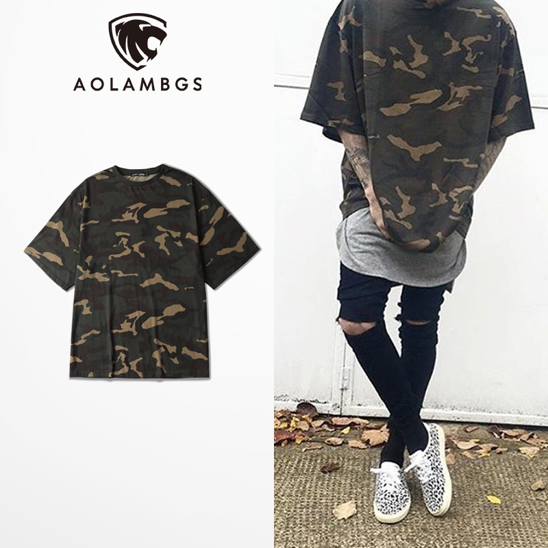 Camo Tee Hip Hop oversized t shirt men 2016 Fashion Mens Military Camouflage Short Sleeved t shirt O-Neck Kanye Tops Streetwear