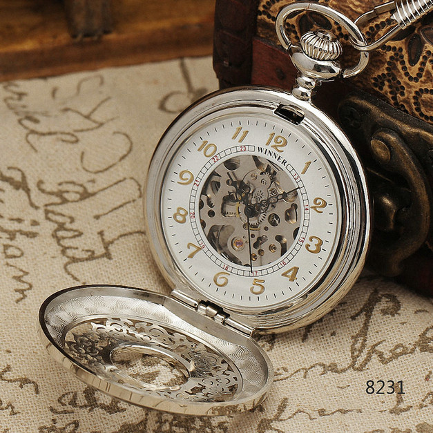 WINNER Luxury Vintage Mechanical Pocket Watch  Hollow Dial White Face W/ Box WINNER251<br><br>Aliexpress