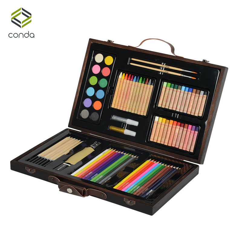 Conda 86pcs/set Deluxe Wood Art Set for Kids in Wooden Case Children Students Art Supplies Oil Painting Stick Paint Brush<br>