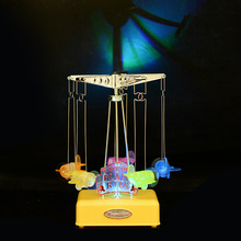 2017 LED Lighting Music Box Plane Model Craft Clockwork Hand Cranked Music Box Carousel Birthday Gift Valentine's Day Gift(China)