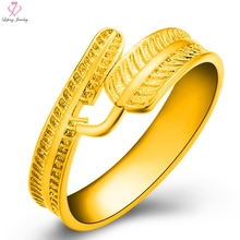 Gold Color Cuff Rings Wedding Women Ring Life & Dream Feather  Forever Love Fashion Female Party Jewelry Lover Engagement Gift