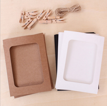 10pcs/lot 3/6 inch paper photo frames for pictures Vintage frame photo DIY baby photo frame wedding photo frame wall(China)