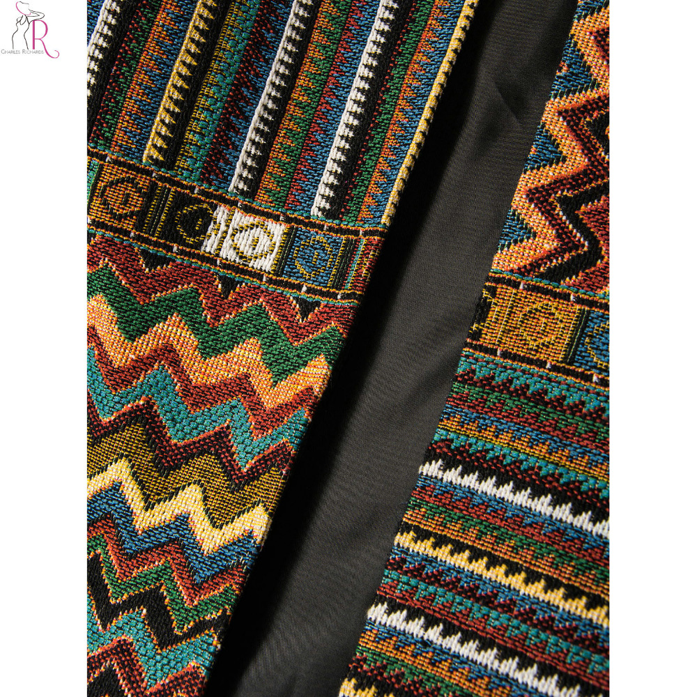 Yellow Slim Geometric Folk Tribal Striped Jacket Coat Outwear Open Front Three Quarter Sleeve Casual 2017 Women Autumn