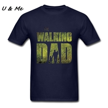 Customized Tee Shirts Mens Gift The Walking Dad Fabic Cotton Father and Son Hi-Fashion Tees Top Homme T-Shirt(China)