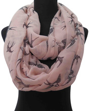10pcs/lot Pink Swallow Bird Print Women's Infinity Loop Scarf Accessories, Free Shipping