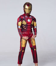 2016 New Iron Man Child's Deluxe Muscle Chest Iron Man Costume Child Gift Cosplay Costume Supply
