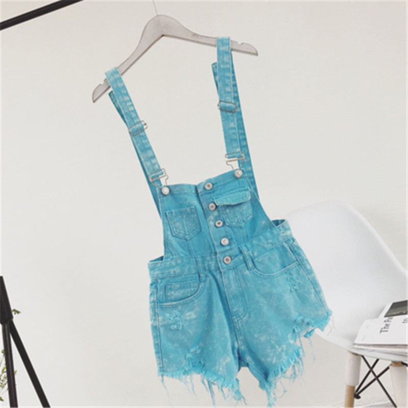 The new college wind denim strap shorts female summer hole loose Korean students was thin sling tide (7)
