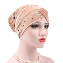 10 Colors Winter Warm Velvet Hot Drilling Headwear Women Fashion Velvet Cap Hat Hair Head Band Turban Bandage Hijab Accessories