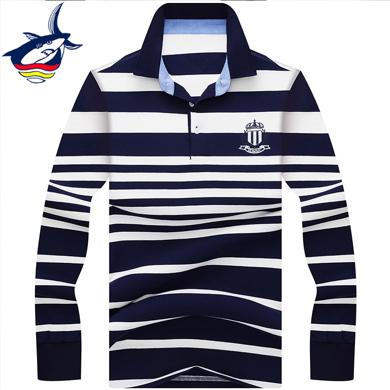Tace & Shark brand men polo shirt high quality striped casual & business camisa polo shirt homme long sleeve polo shirts men