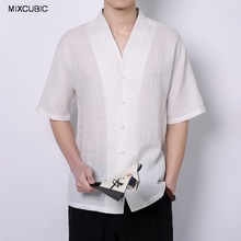 Buy MIXCUBIC 2017 new summer College style cool Breathable linen shirts men white casual loose washing linen shirts men,M-4XL for $17.66 in AliExpress store